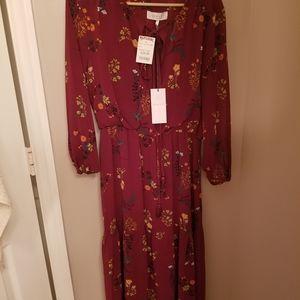 NWT WAYF deep cranberry floral peasant dress